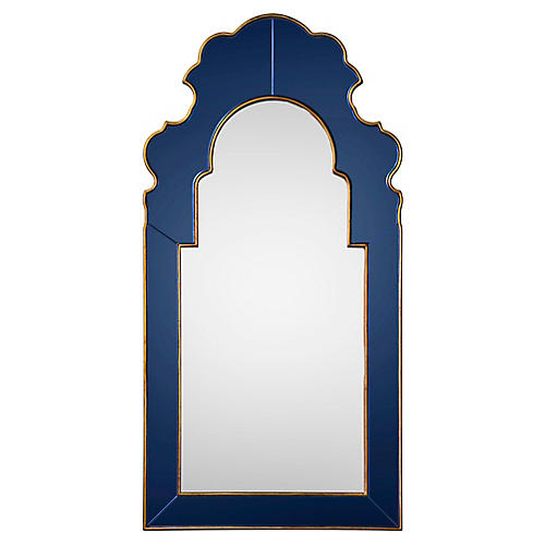 Speckle Oversize Wall Mirror, Sapphire/Gold