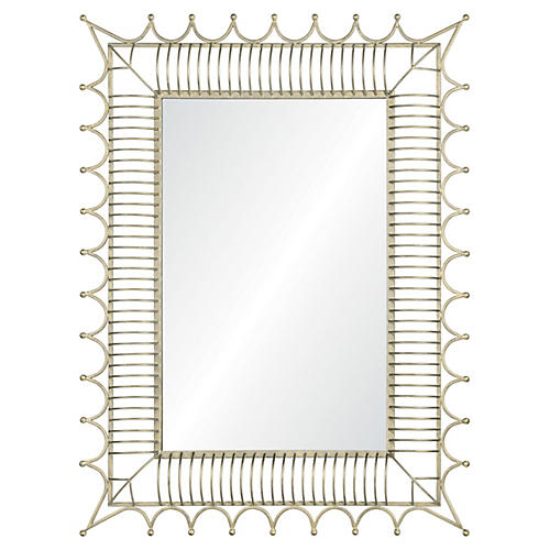Rex Wall Mirror, Antiqued Iron Silver