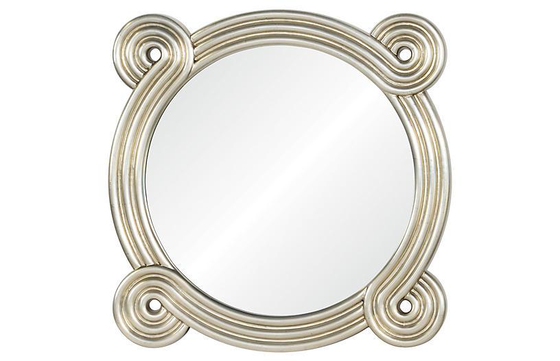 OHM Wall Mirror, Distressed Silver Leaf