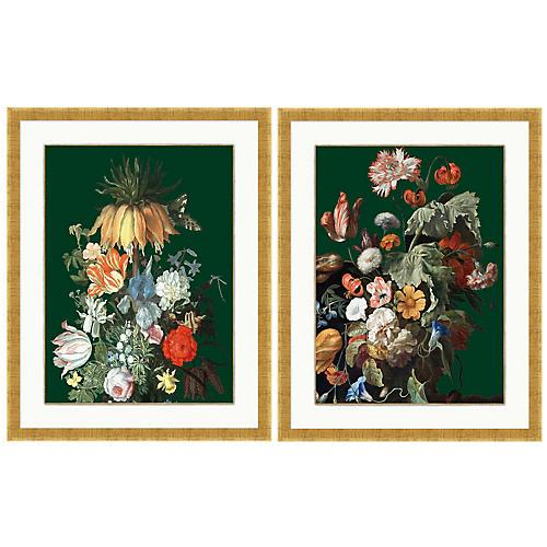 Lillian August, Floral Still Life Dark Green Set