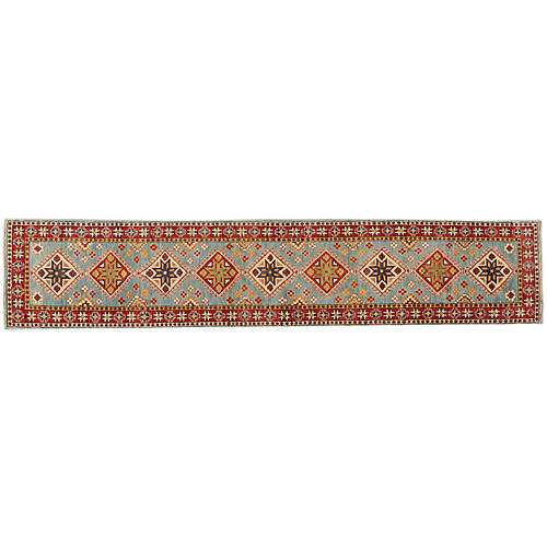"2'7""x13' Tycho Hand-Knotted Runner, Light Blue/Red"