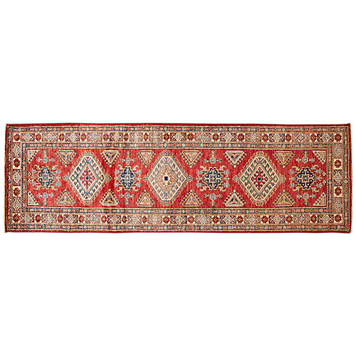 "2'7""x8'6"" Alida Hand-Knotted Runner, Red"