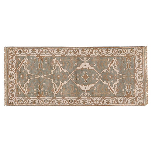 "2'4""x6' Alim Hand-Knotted Runner, Green"