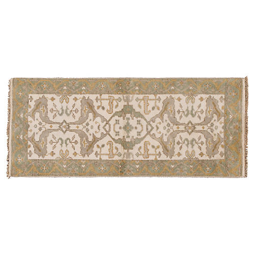 "2'6""x5'10"" Isidor Hand-Knotted Runner, Ivory"