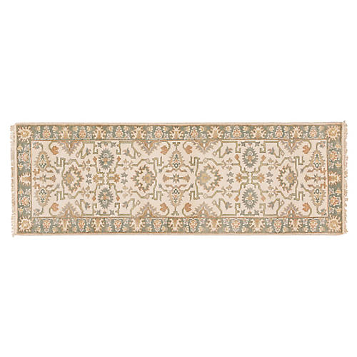 "2'8""x8' Izar Hand-Knotted Runner, Ivory"