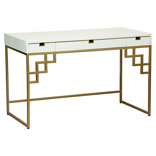 Morgan Desk, Brass/White