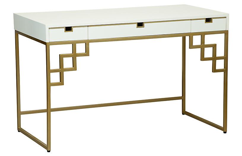 Morgan Desk, Brass/White