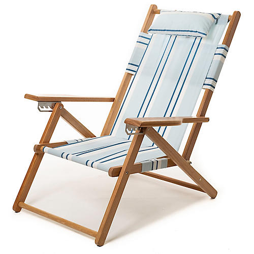 Quincy Stripe Backpack Beach Chair, Blue