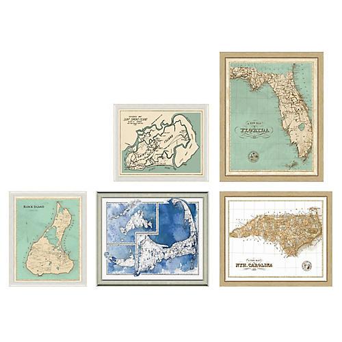 5-Pc Coastal Maps Gallery Wall, Blue