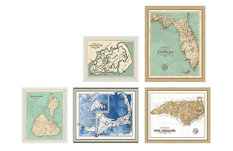 5-Pc Coastal Maps Gallery Wall, Blue