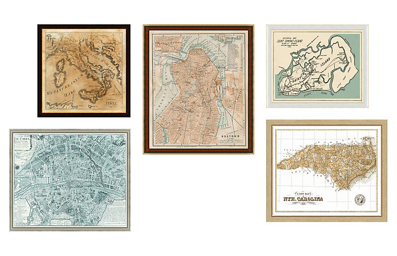 5-Pc Vintage Maps Gallery Wall, Ivory
