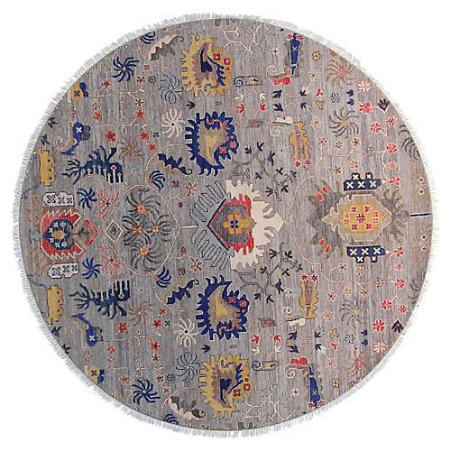 6' Sari Liam Round Rug, Light Gray/Red