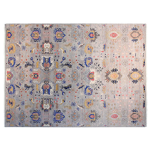 9'x12' Sari Liam Hand-Knotted Rug, Light Gray/Red