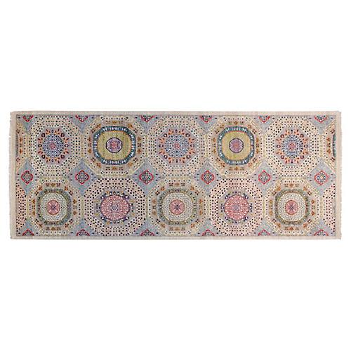 4'x10' Sari Mamluk Rug, Ivory/Olive