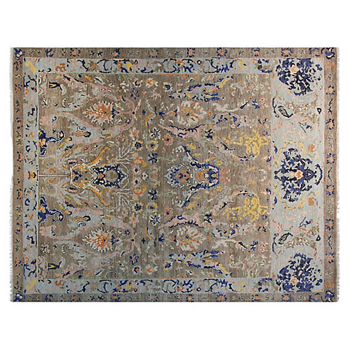 9'x12' Arabella Hand-Knotted Rug, Taupe/Navy