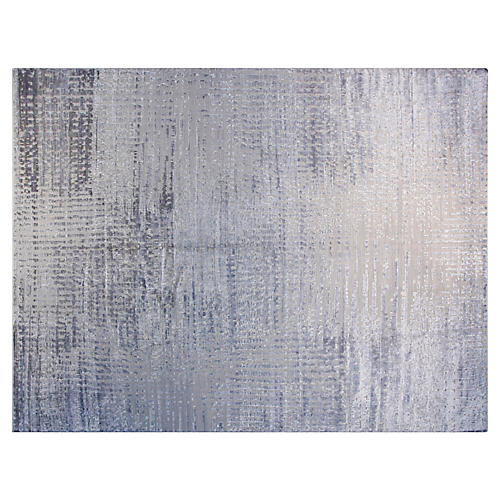 9'x12' Ashley Hand-Knotted Rug, Silver-Blue