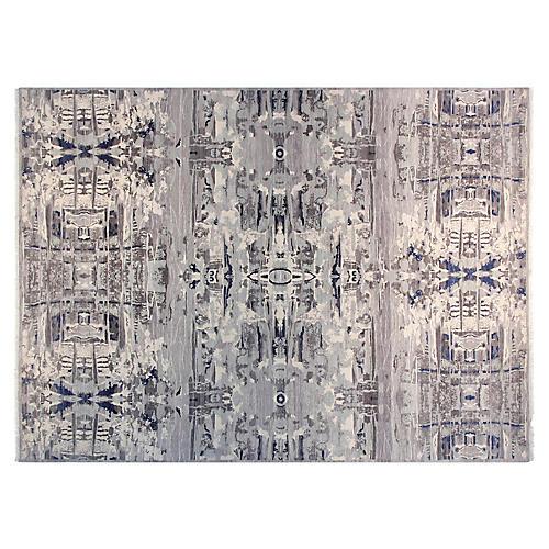 9'x12' Sari Graphic Hand-Knotted Rug, Gray/Ivory