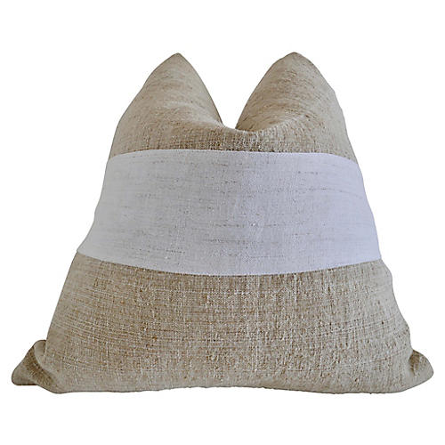 Raines 24x24 Pillow, Natural/White