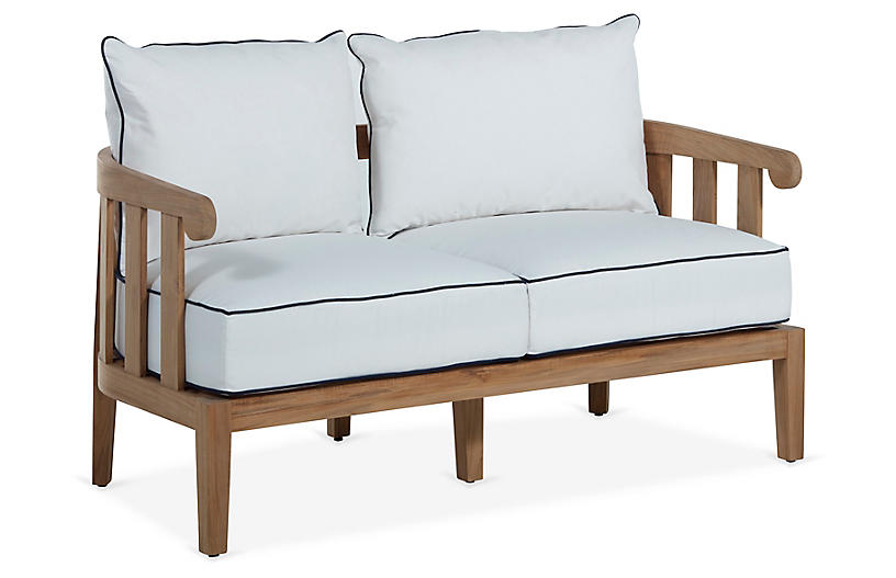 Highland Teak Loveseat, White/Navy