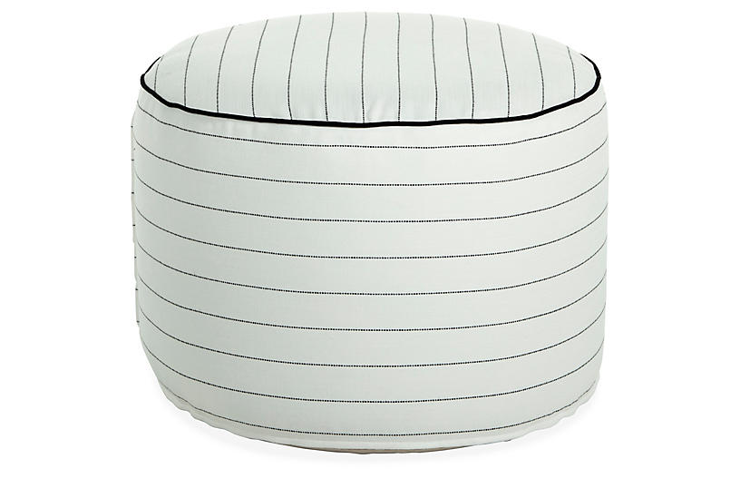Lola Round Pouf, White Stripe