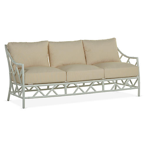 Kit Sofa, White/Yellow Pinstripe