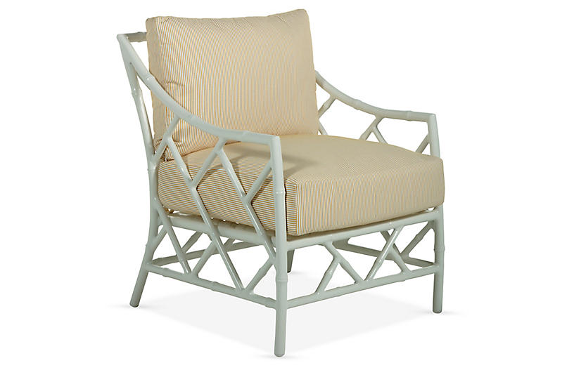 Kit Lounge Chair, White/Yellow Pinstripe