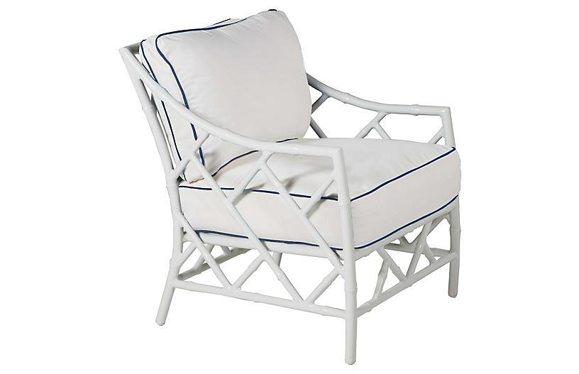 Kit Lounge Chair, White/Navy