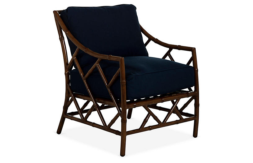 Kit Lounge Chair, Sandalwood/Navy