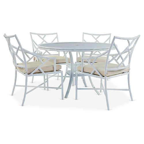 Kit 5-Pc Dining Set, White/Yellow Pinstripe