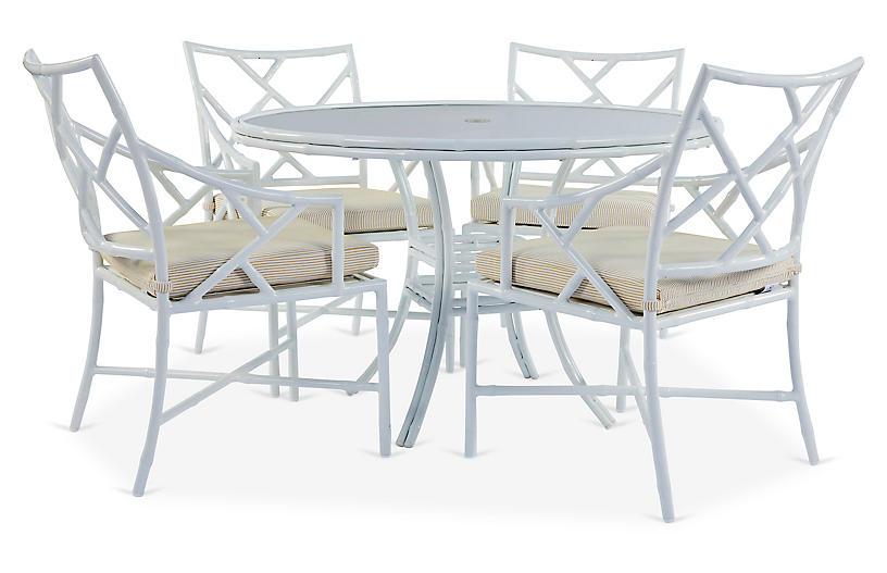 Kit 5-Pc Dining Set, White/Yellow Pinstripe