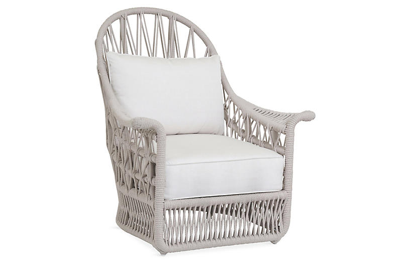 Farah Outdoor Wing Chair, Flax Rope