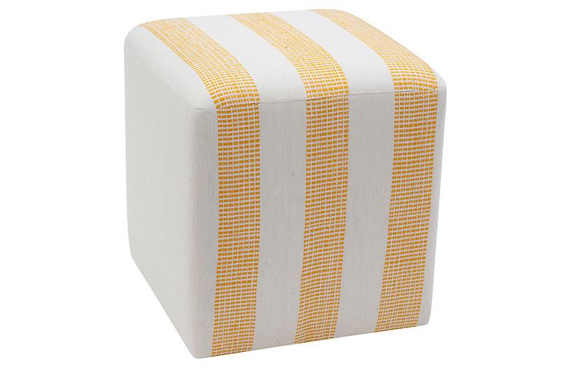 Yellow Dot Cube Ottoman, Yellow