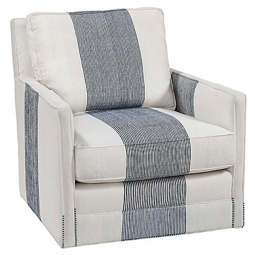 Zoe Swivel Chair, Navy/White