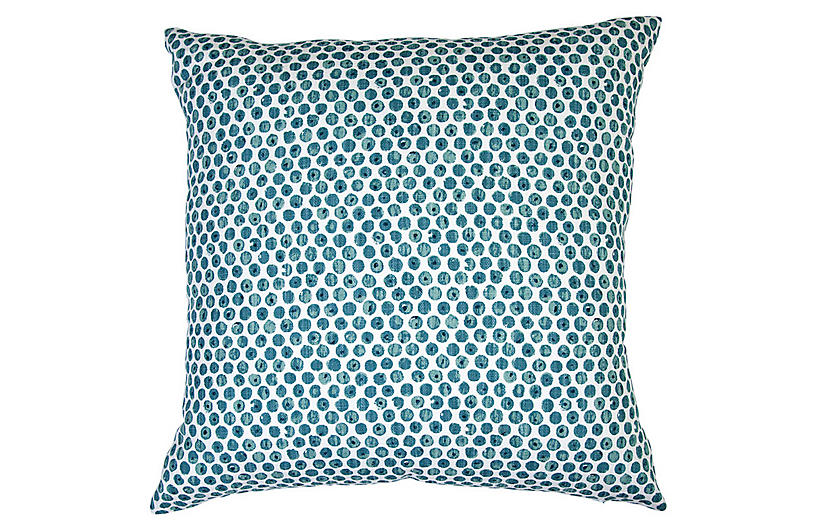 Dot Viridian Pillow, Blue/White