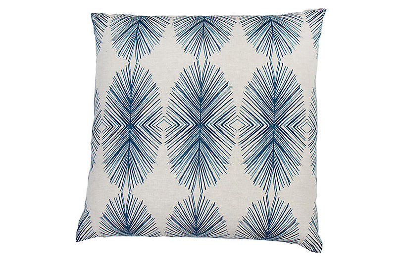 Tulum Throw Pillow, Blue/White