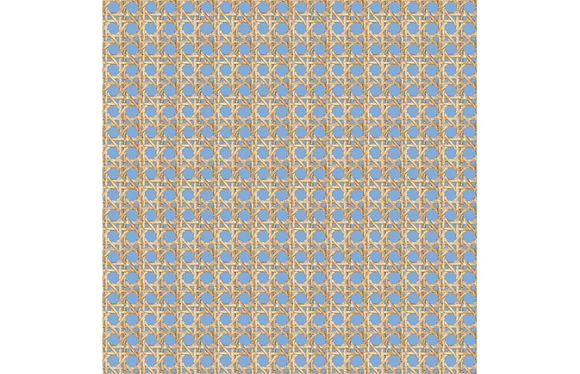 Large Caning Wallpaper, Denim