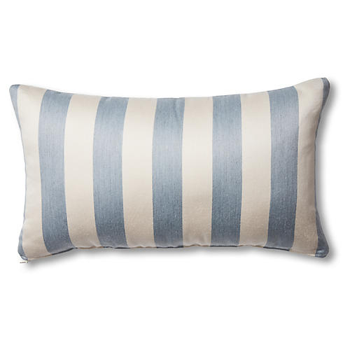 Harper 14x24 Outdoor Lumbar Pillow, Chambray/Ivory