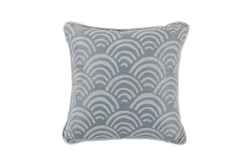 Carmel Outdoor Scallop Pillow, Mist/White