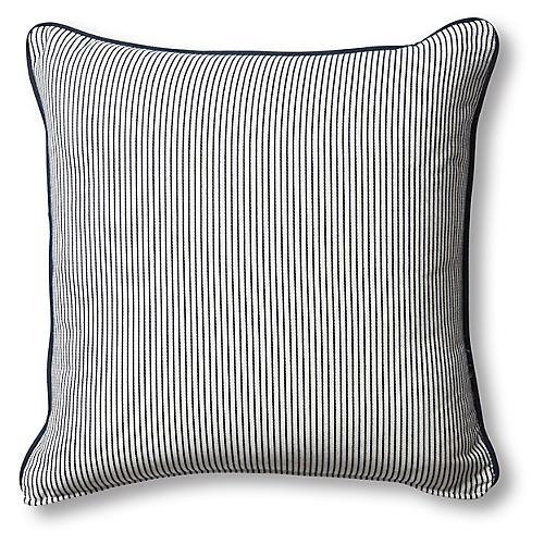 Highland Outdoor Pillow, Navy/White Stripe