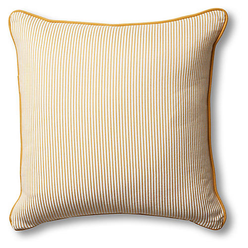 Kit Pillow, Mustard/White Stripe