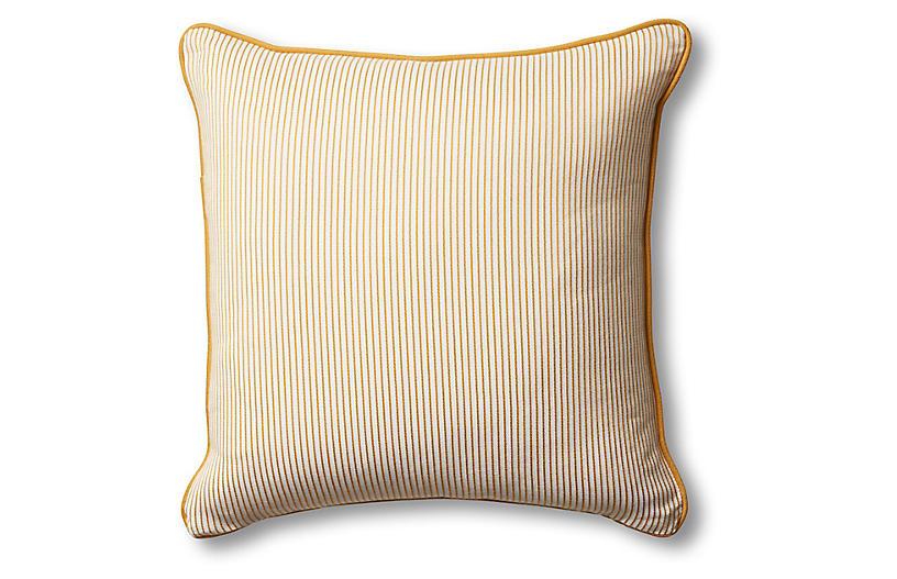 Kit Pinstripe Pillow, Mustard/White