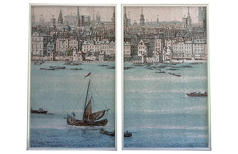 Dawn Wolfe, Boat on the River Thames Diptych