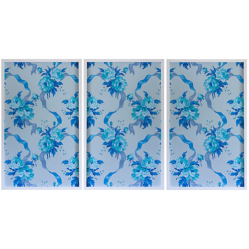Dawn Wolfe, Blue Rose Vintage Wallpaper II
