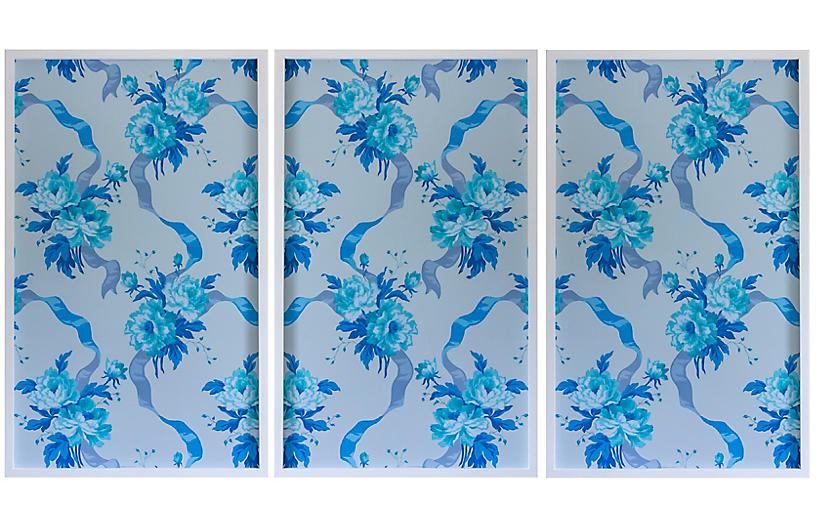 Dawn Wolfe, Blue Rose Vintage Wallpaper II
