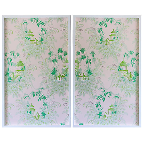 Dawn Wolfe, Pale Green Pagoda Wallpaper Diptych