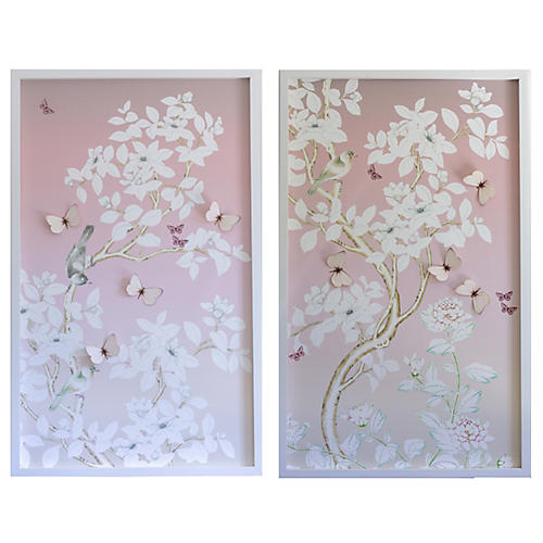 Dawn Wolfe, Chinoiserie Diptych w/ Butterflies I