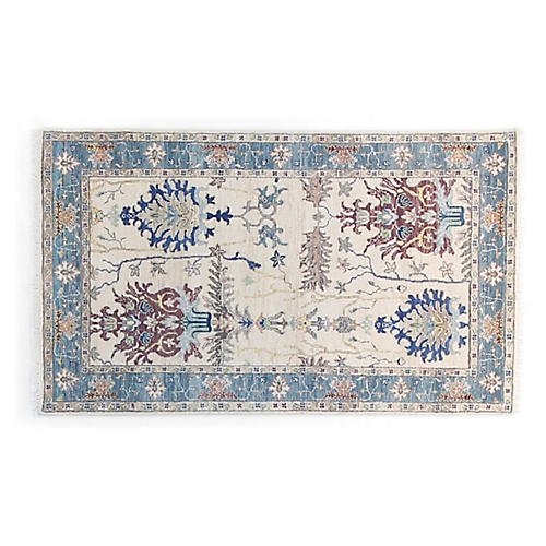 3'x5' Asaf Hand-Knotted Rug, Ivory/Multi