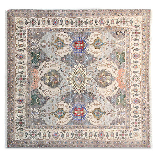 6' Circa Square Hand-Knotted Rug, Gray/Multi
