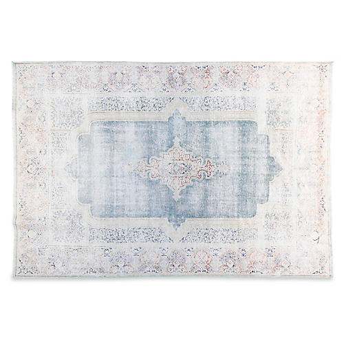 7'x10' Victoria Hand-Knotted Rug, Blue