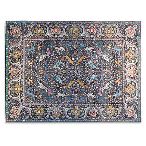 9'x12' Salut Hand-Knotted Rug, Charcoal